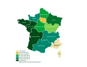 Carte de France : Moyenne de prduction de Maïs 2014-2016